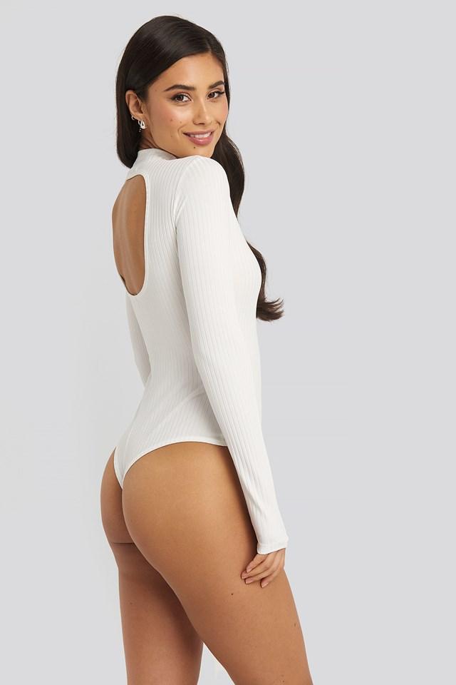 Open Back Ribbed Body White