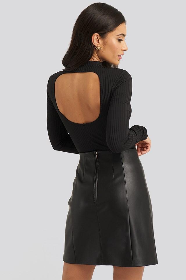 Open Back Ribbed Body Black