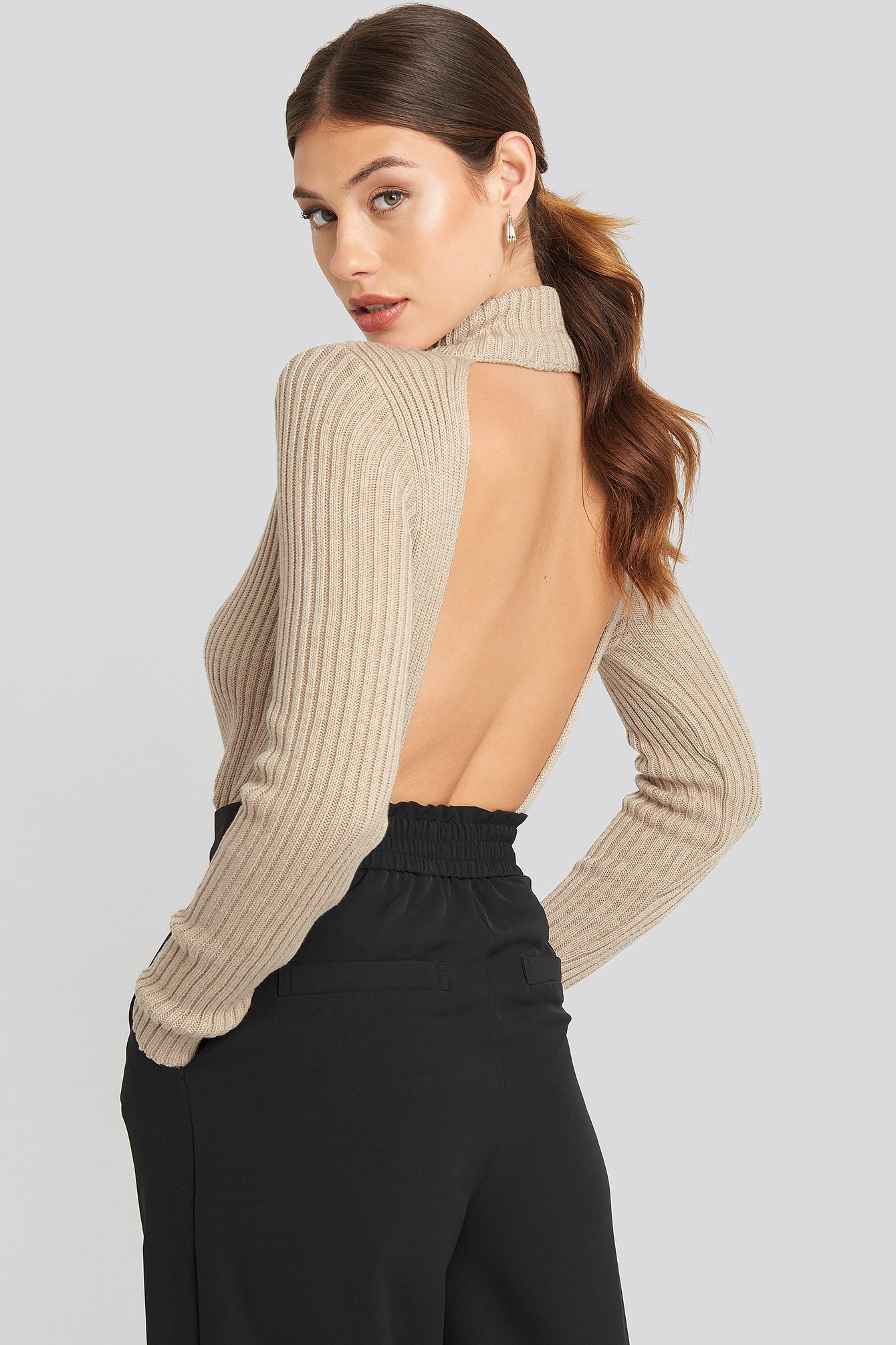 Beige Open Back Ribbed Sweater