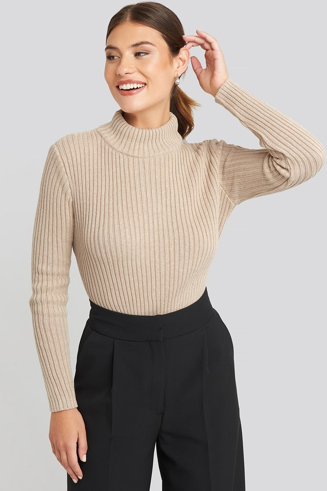 Open Back Ribbed Sweater Beige