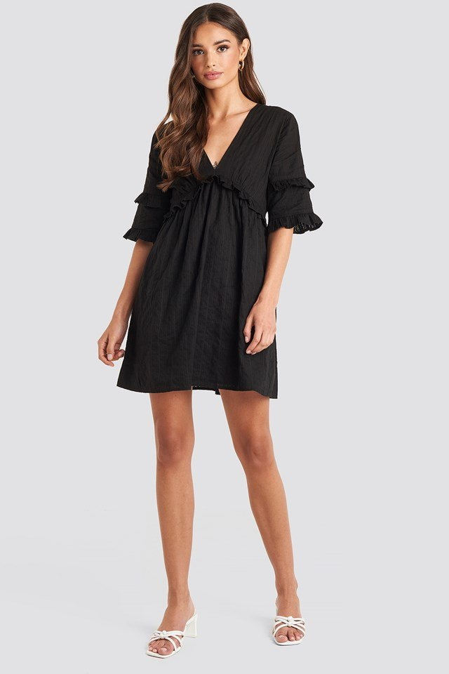 Open Back Ruffle Sleeve Mini Dress Black