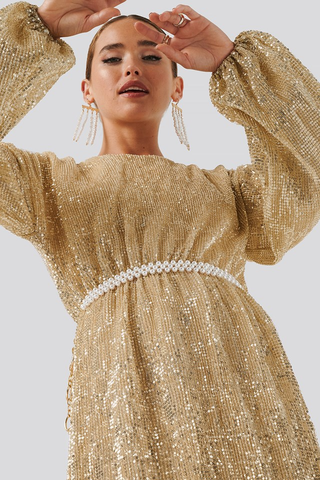 Open Back Sequin Dress Gold