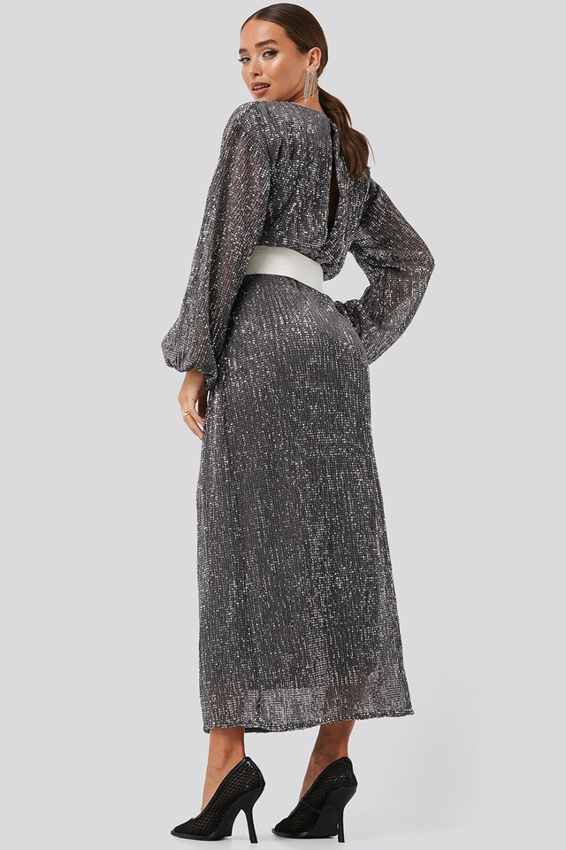 Open Back Sequin Dress Dark Grey