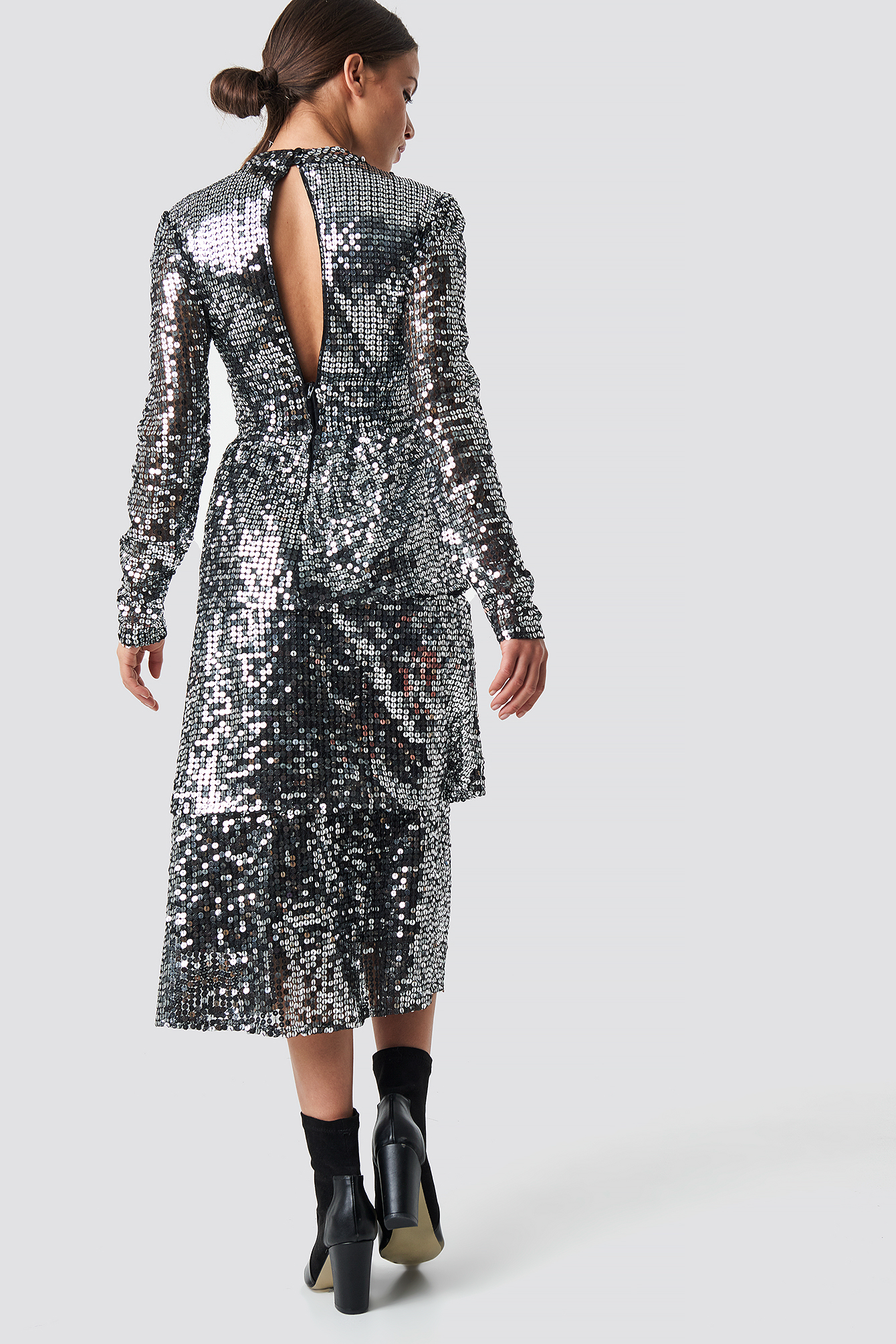 na-kd party -  Open Back Sequins Midi Dress - Silver