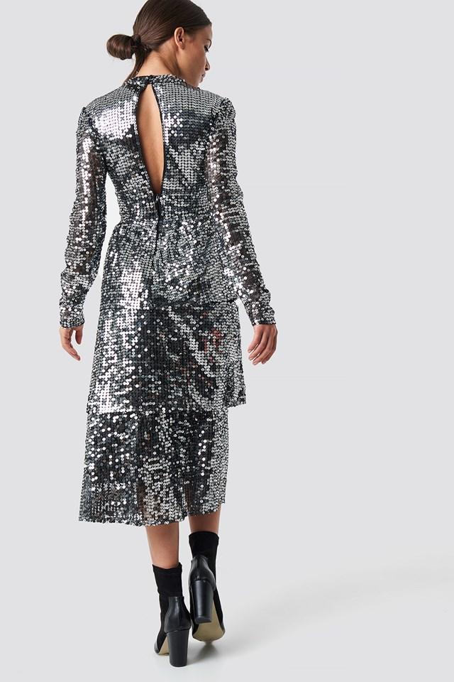Open Back Sequins Midi Dress Silver