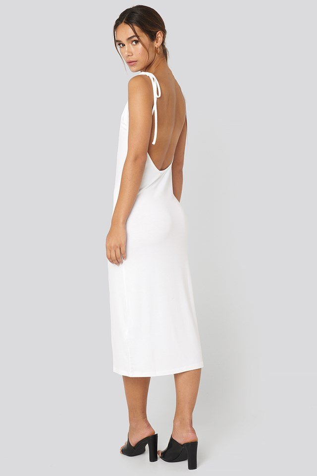 Open Back Shift Midi Dress White