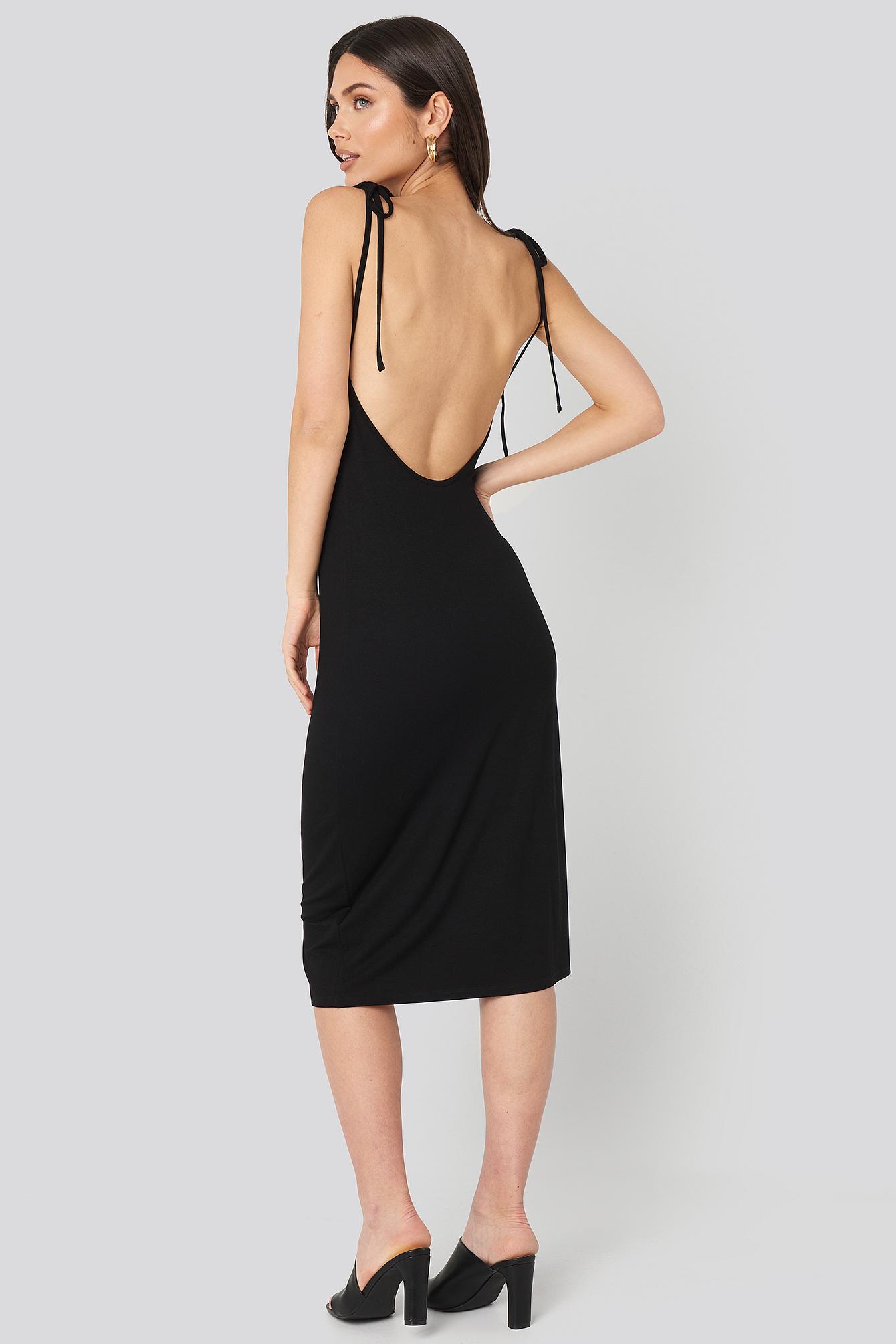na-kd -  Open Back Shift Midi Dress - Black