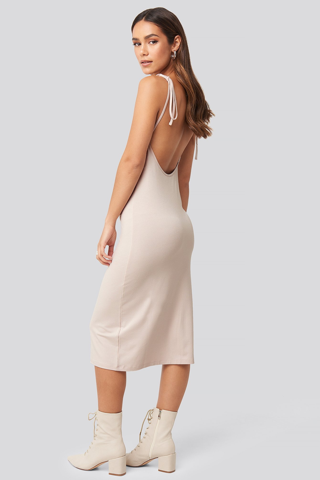 Open Back Shift Midi Dress Pink by Na Kd