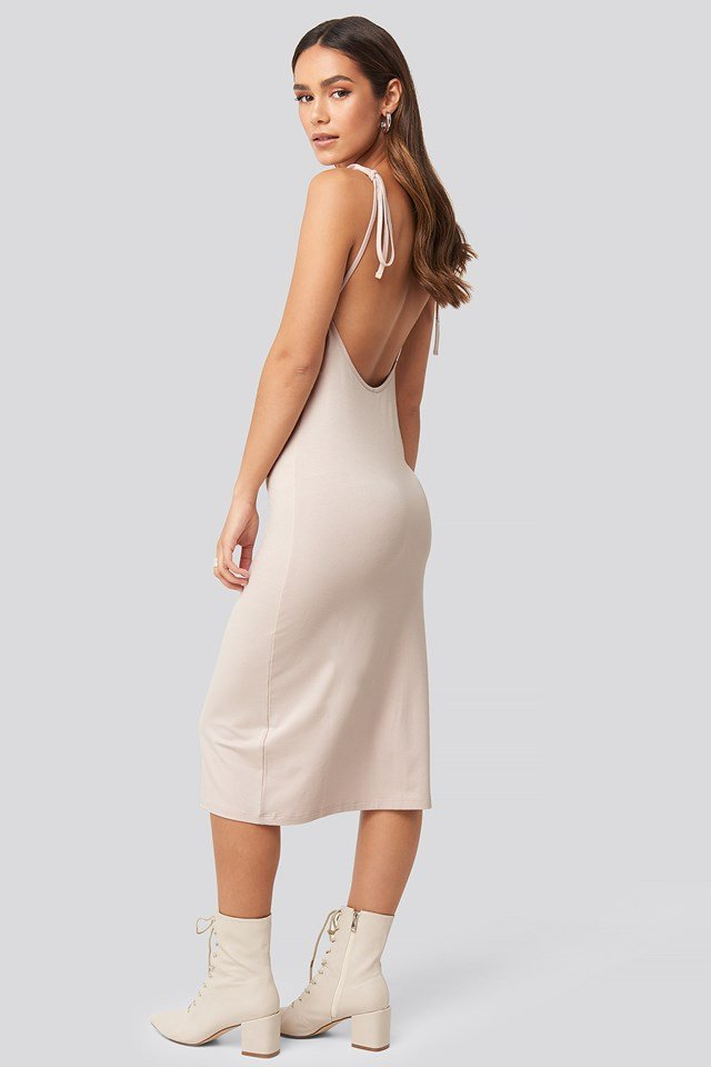 Open Back Shift Midi Dress Pink