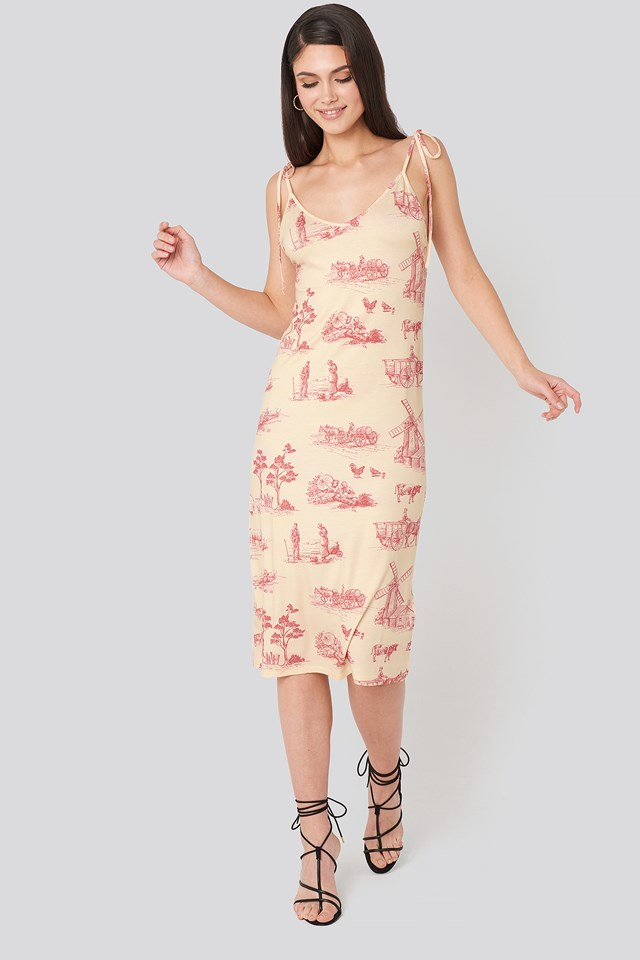 Open Back Shift Midi Dress Print