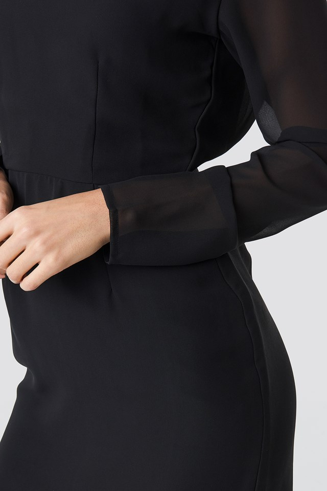 Open Back Short Dress Black
