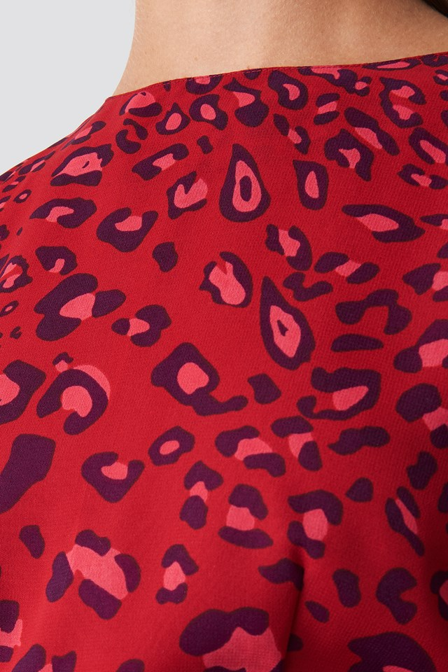 Open Back Short Dress Red Leo Print