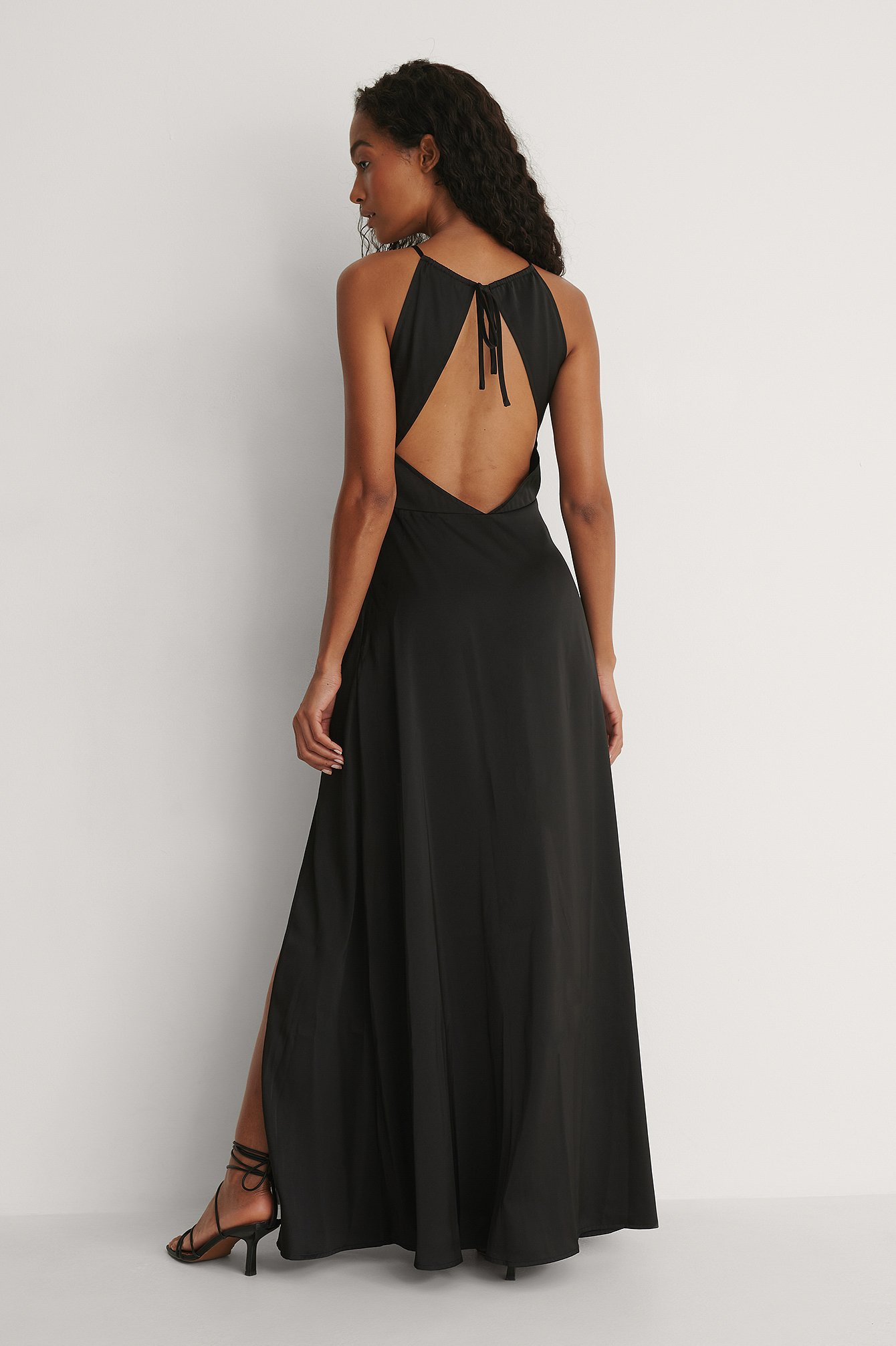 Black Open Back Slit Maxi Dress