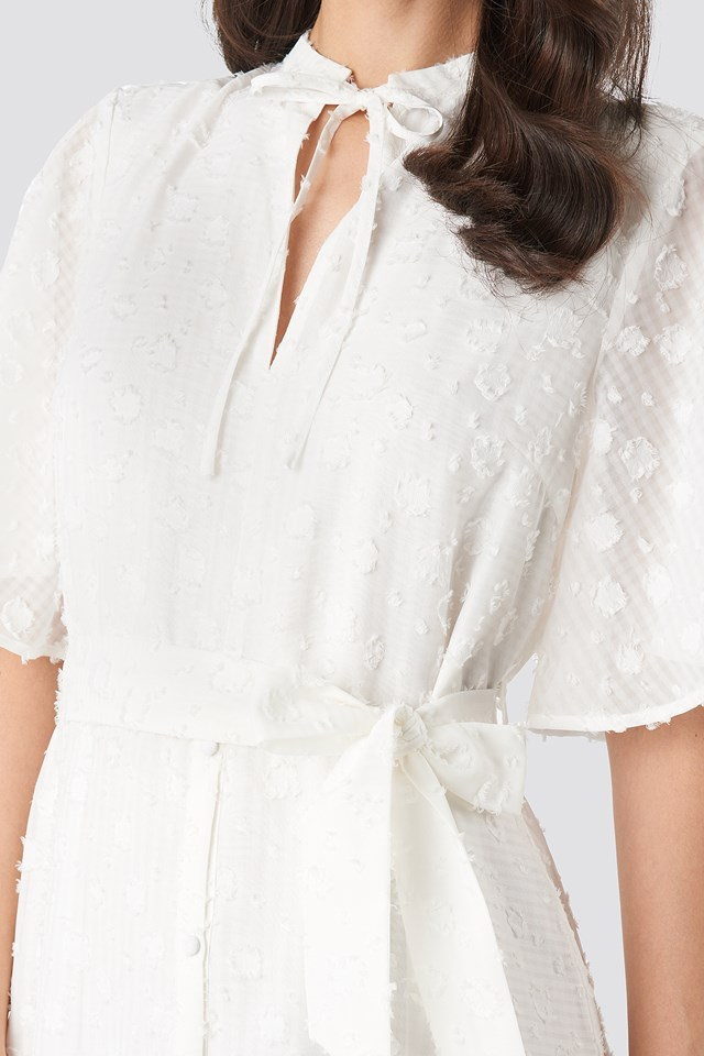 Open Back Structured Flowy Dress White