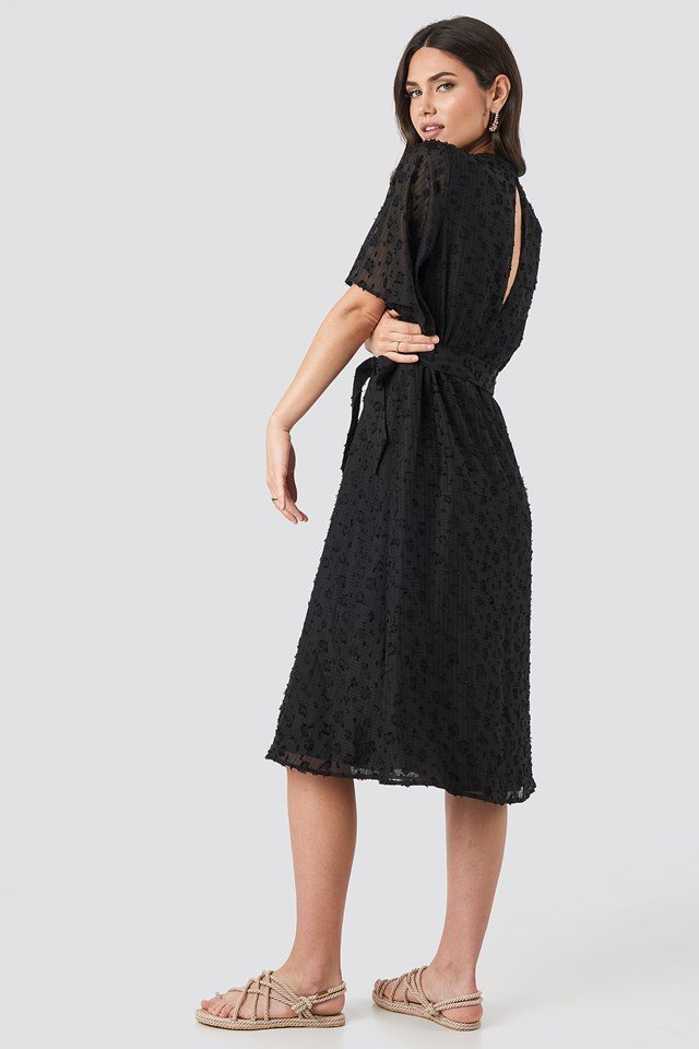 Open Back Structured Flowy Dress Black