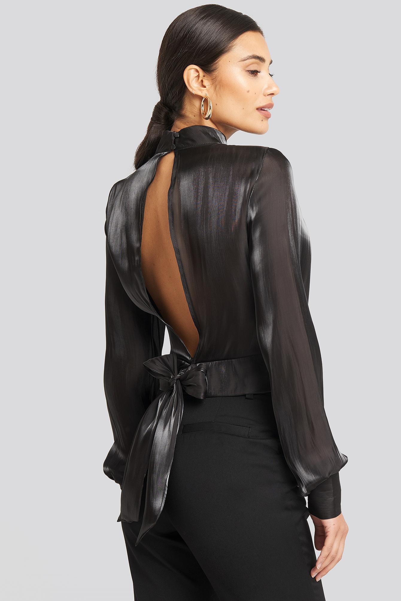 afj x na-kd -  Open Back Tie Detail Blouse - Black