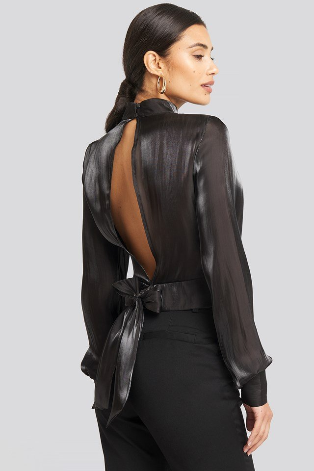 Open Back Tie Detail Blouse Black