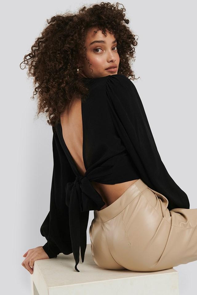Open Back Tie Waist Blouse Black