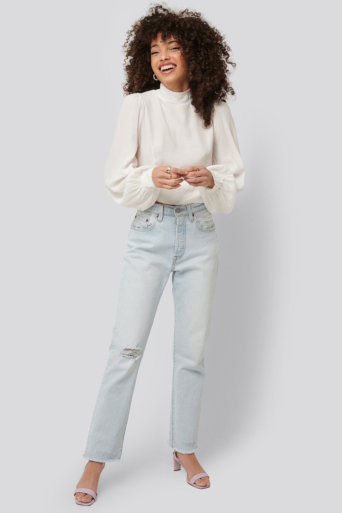 Offwhite Open Back Tie Waist Blouse