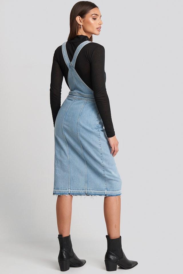 Open Hem Denim Midi Dress Light Blue