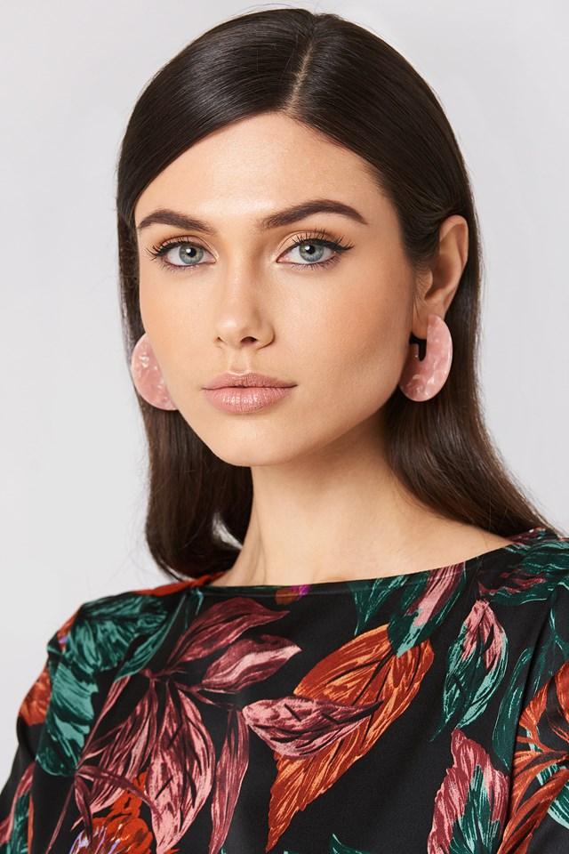 Open Hoop Resin Earrings Blush
