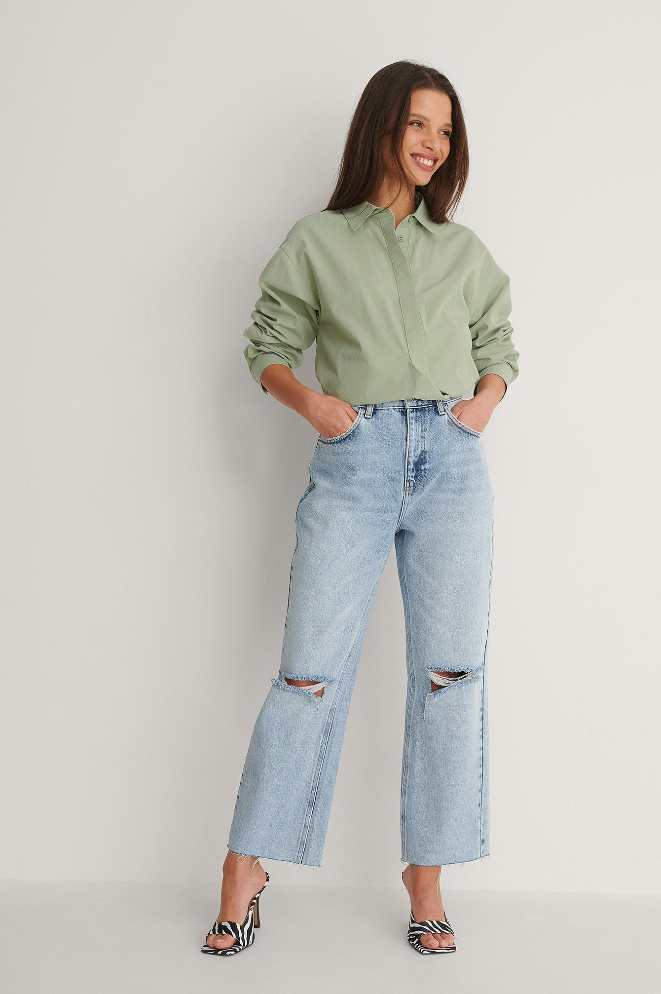 Light Blue Open Knee Straight High Waist Cropped Jeans