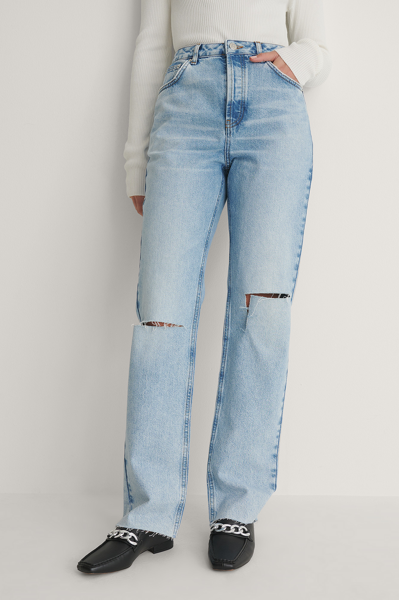 Light Blue Open Knee Straight High Waist Jeans