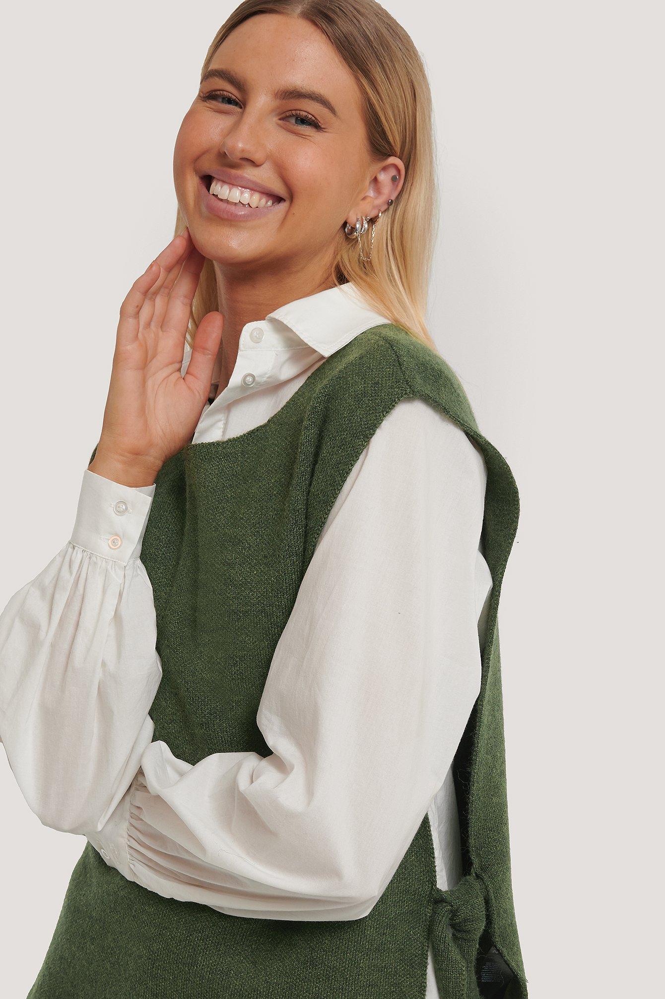 na-kd trend -  Strickweste Mit Offener Seite - Green