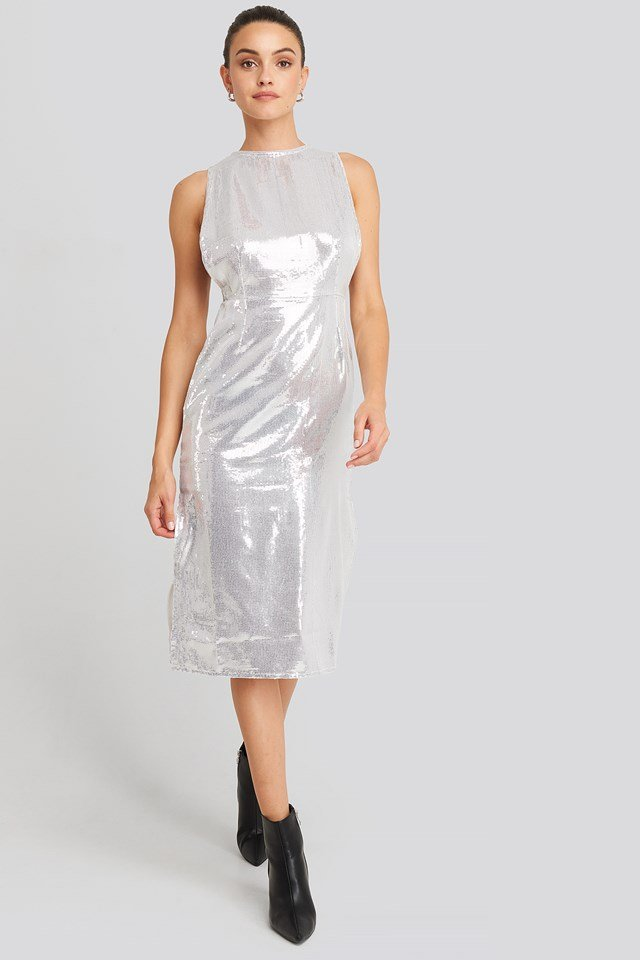 Open Side Sequin Midi Dress Silver