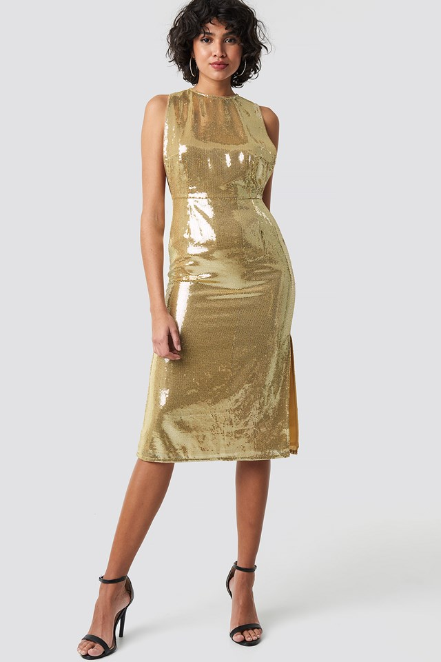 Open Side Sequin Midi Dress Gold