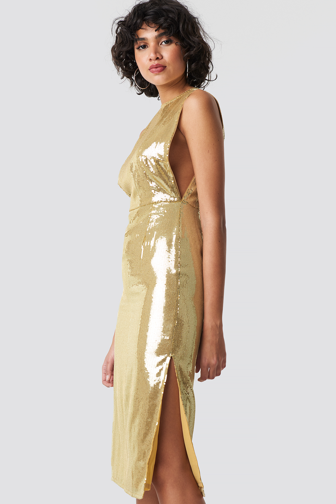 Open Side Sequin Midi Dress NA-KD.COM