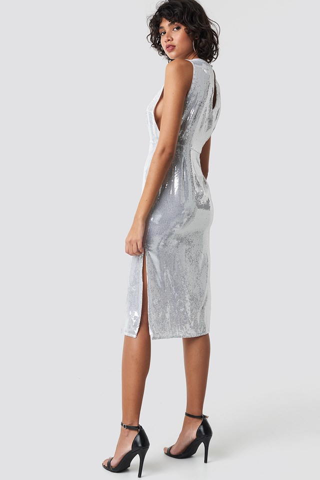 Open Side Sequin Midi Dress Silver