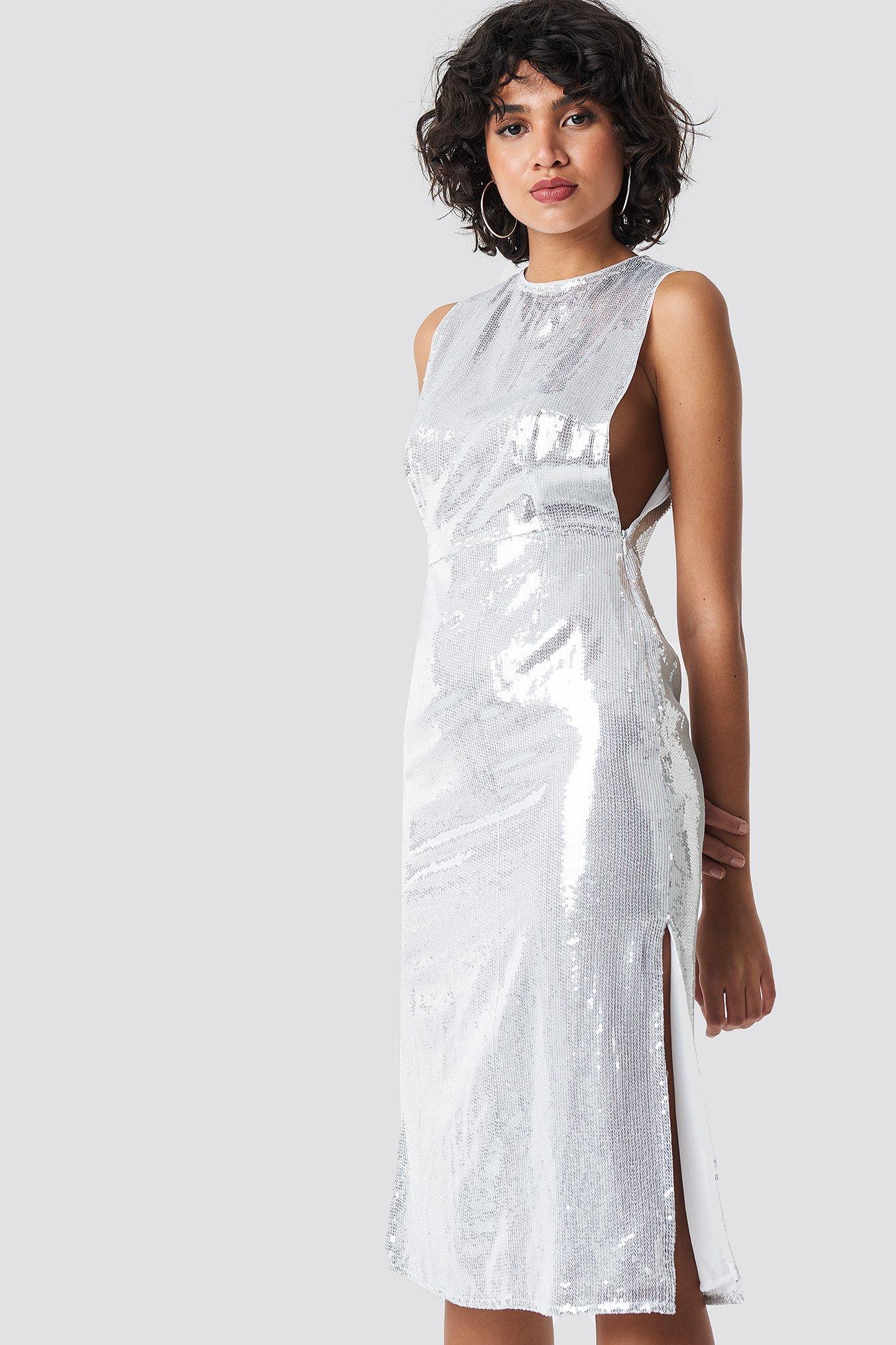 Open Side Sequin Midi Dress NA-KD.COM