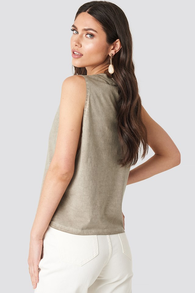 Open Side Tank Top Beige Melange