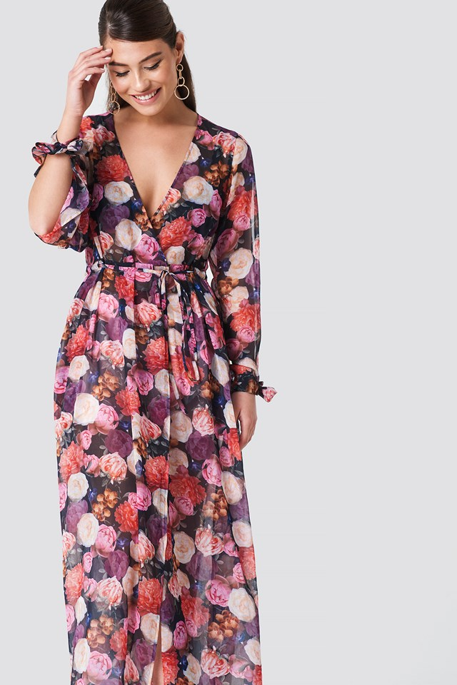 Open Sleeve Chiffon Coat Dress Oil Flowers