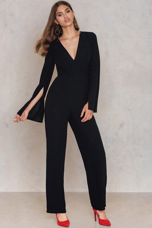 Open Sleeve Deep Neck Jumpsuit Black