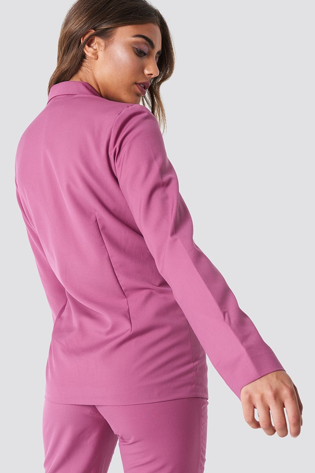 Open Sleeve Overlap Blazer Purple Rose