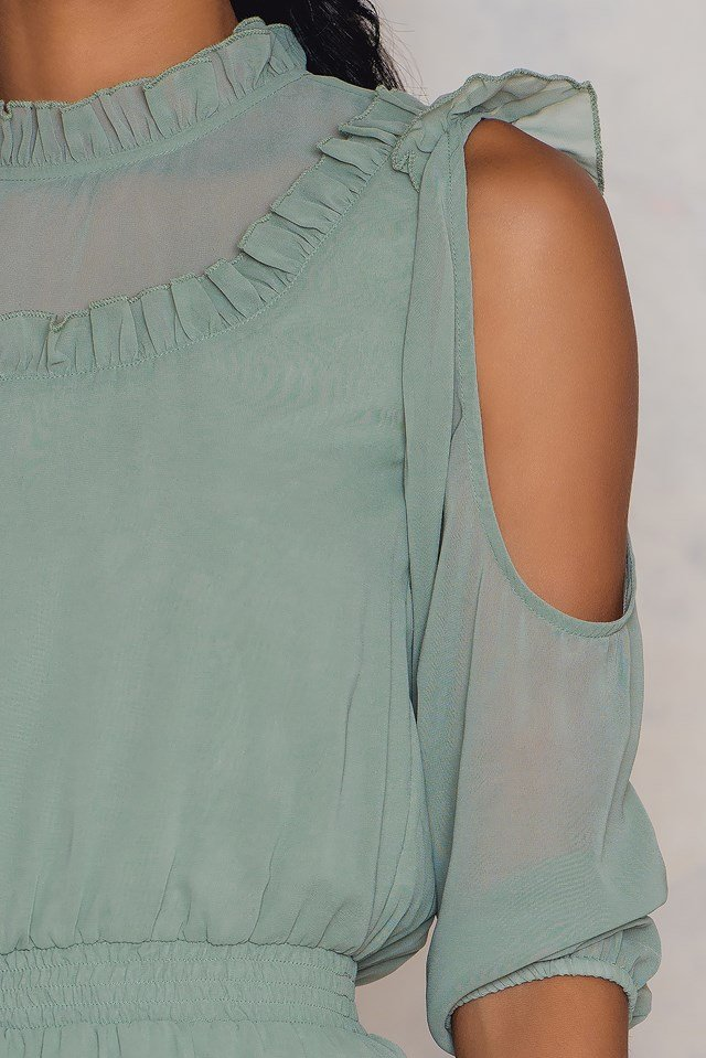 Open Sleeve Round Neck Dress Dusty Green