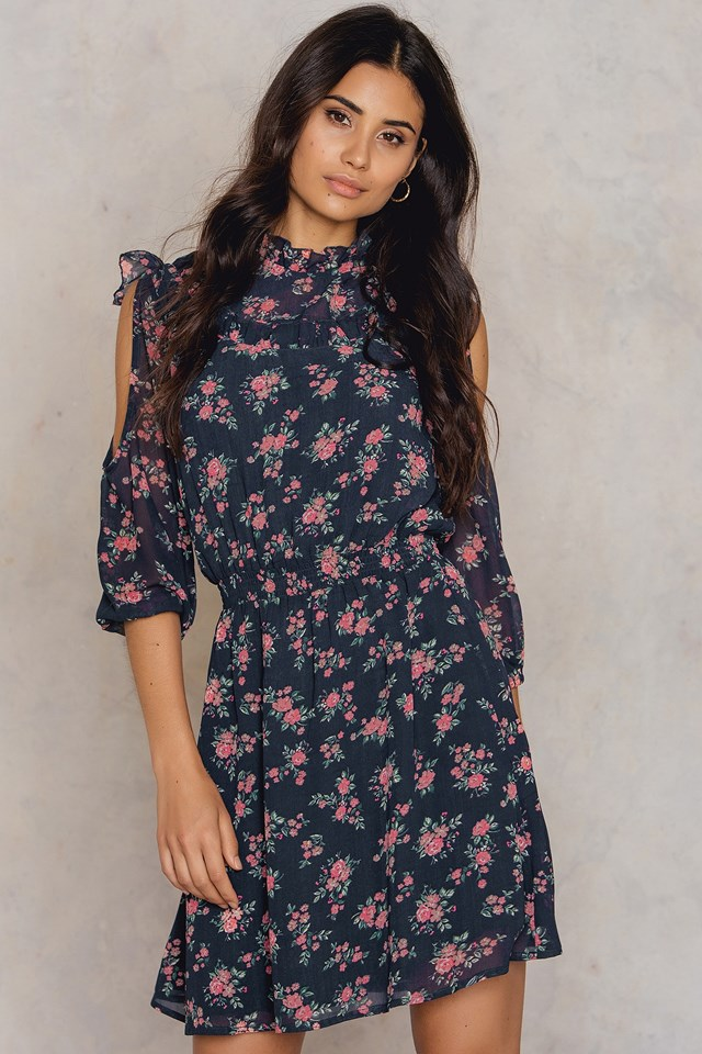Open Sleeve Round Neck Dress Flower Print