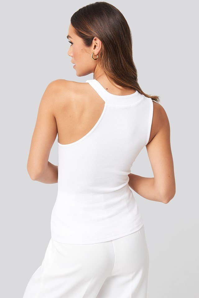 Open Strap One Shoulder Sleeveless Top White