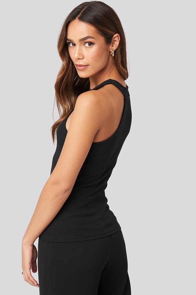 Open Strap One Shoulder Sleeveless Top Black