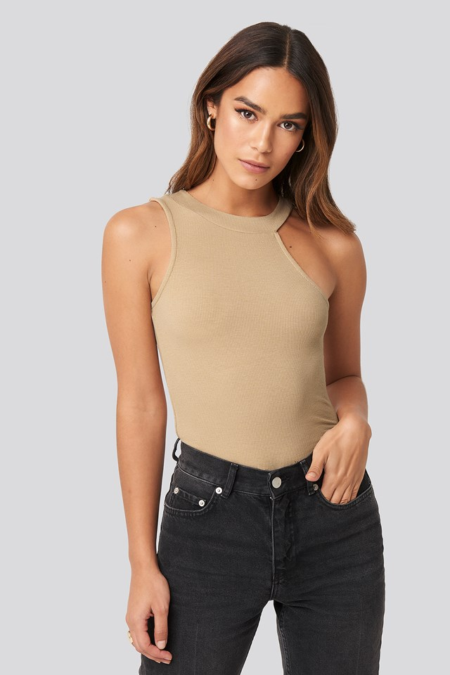 Open Strap One Shoulder Sleeveless Top Beige