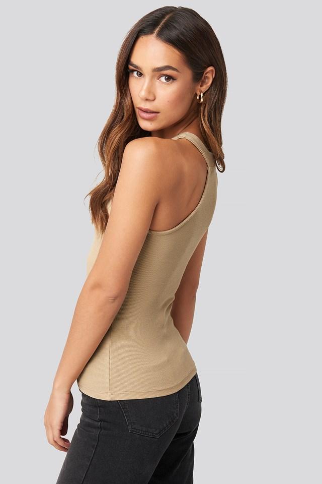 Open Strap One Shoulder Sleeveless Top Beige