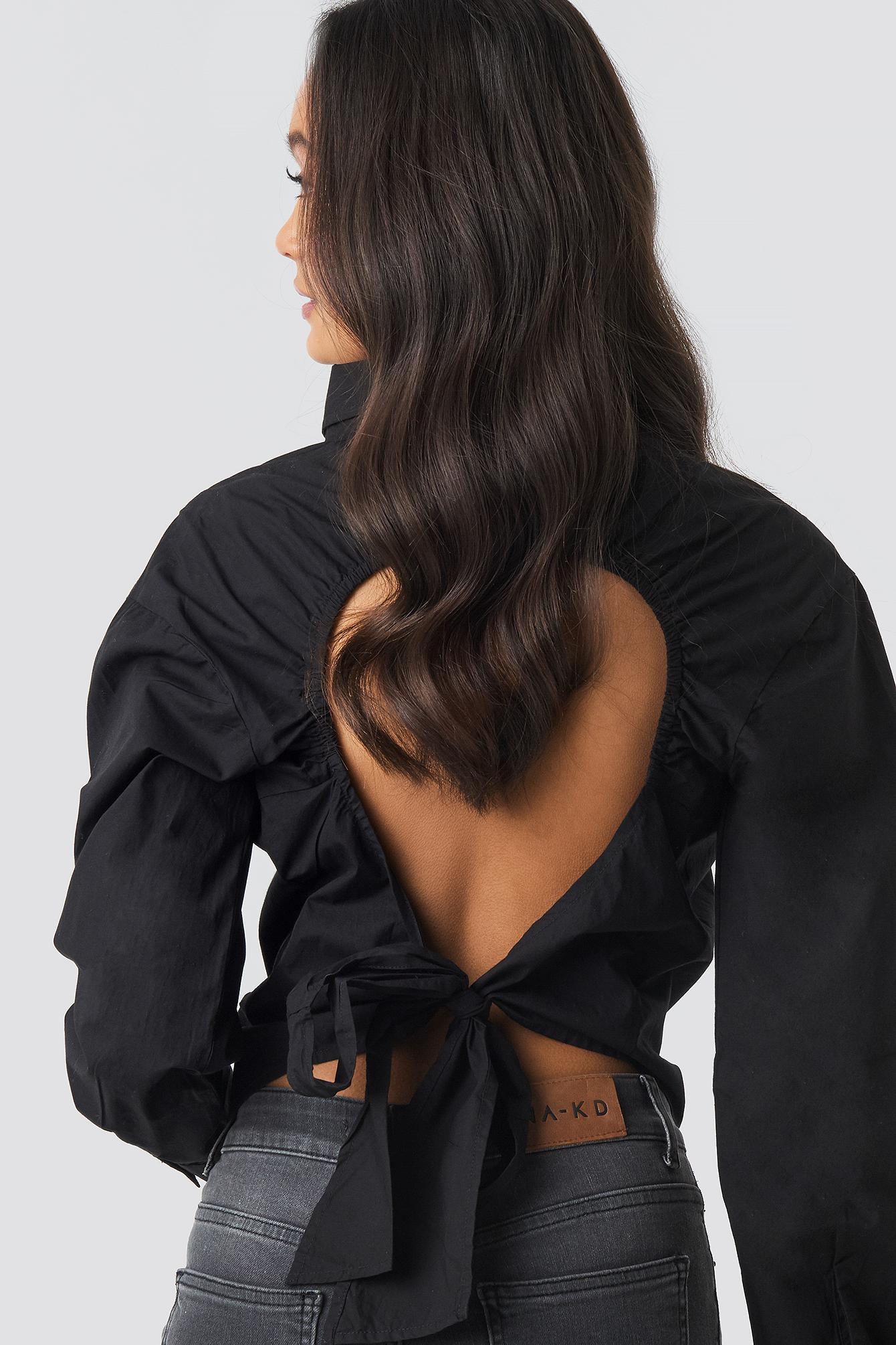 Open Tie Back Blouse NA-KD.COM