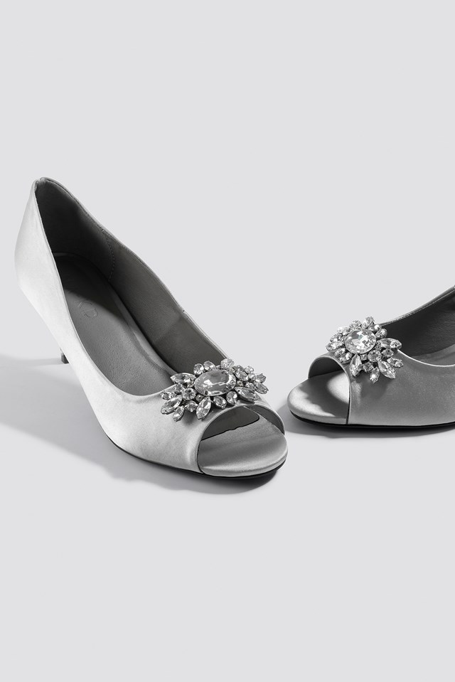 Open Toe Embellished Pumps Silver