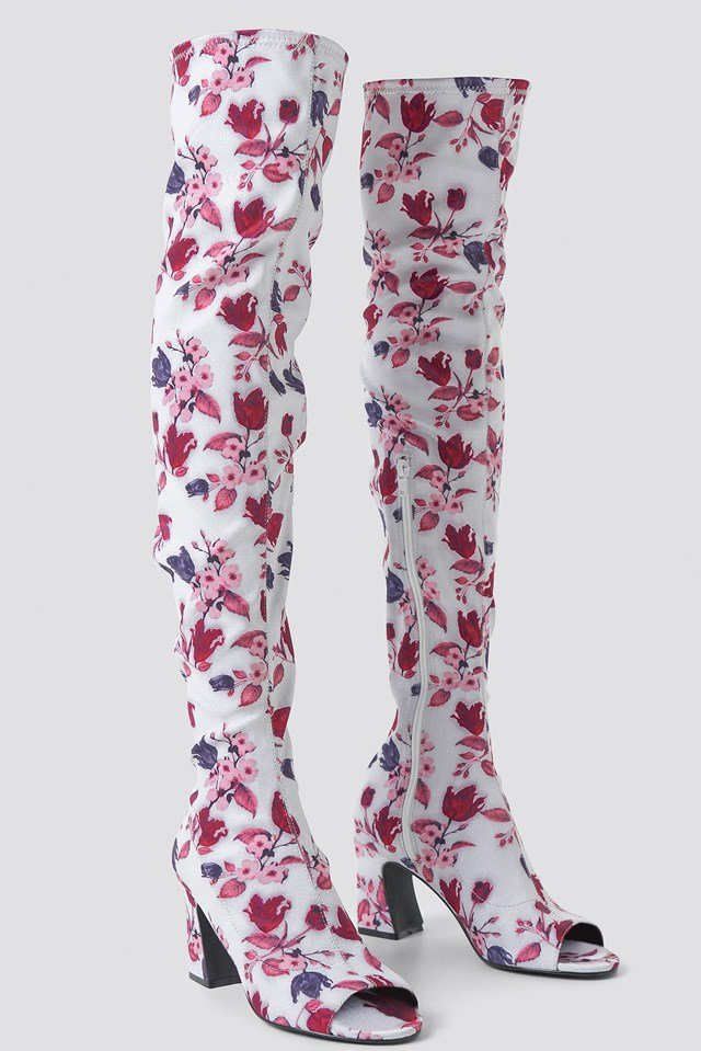Open Toe Knee High Boots White Tulip Pattern
