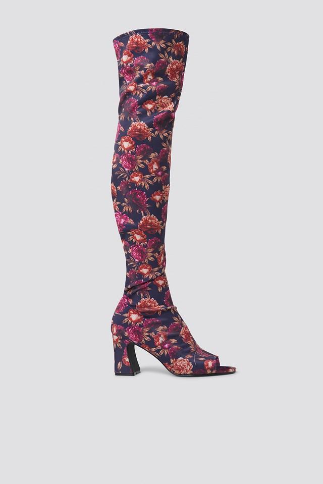 Open Toe Knee High Boots Dark Blue/Burgundy Peonies