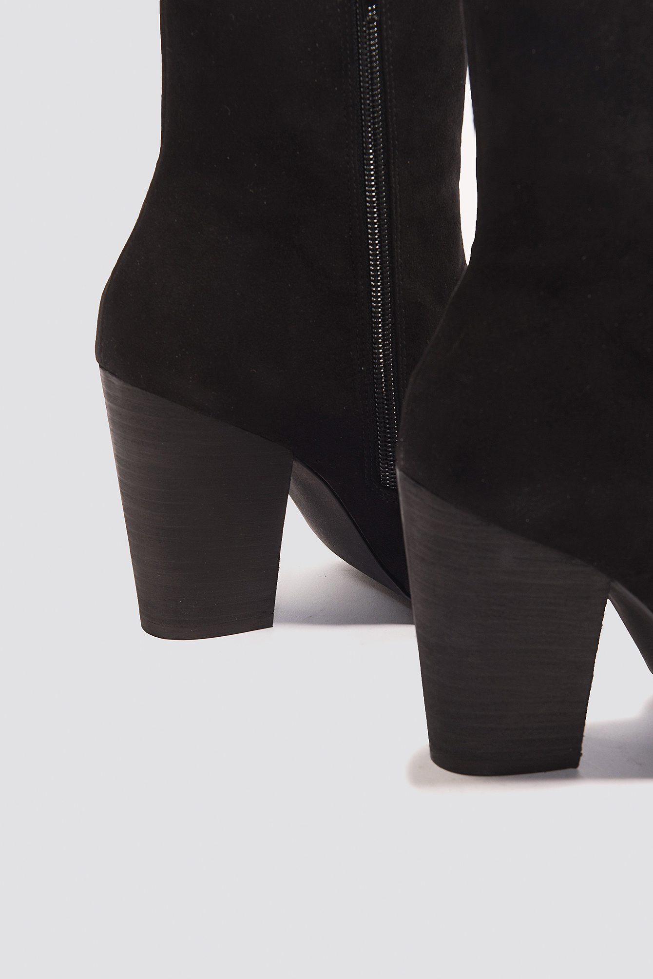Black Open Toe Suede Boots