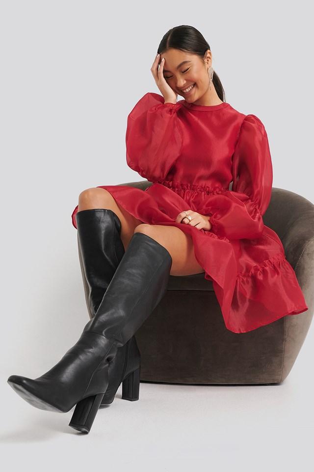 Organza Puff Sleeve Dress Dark Red