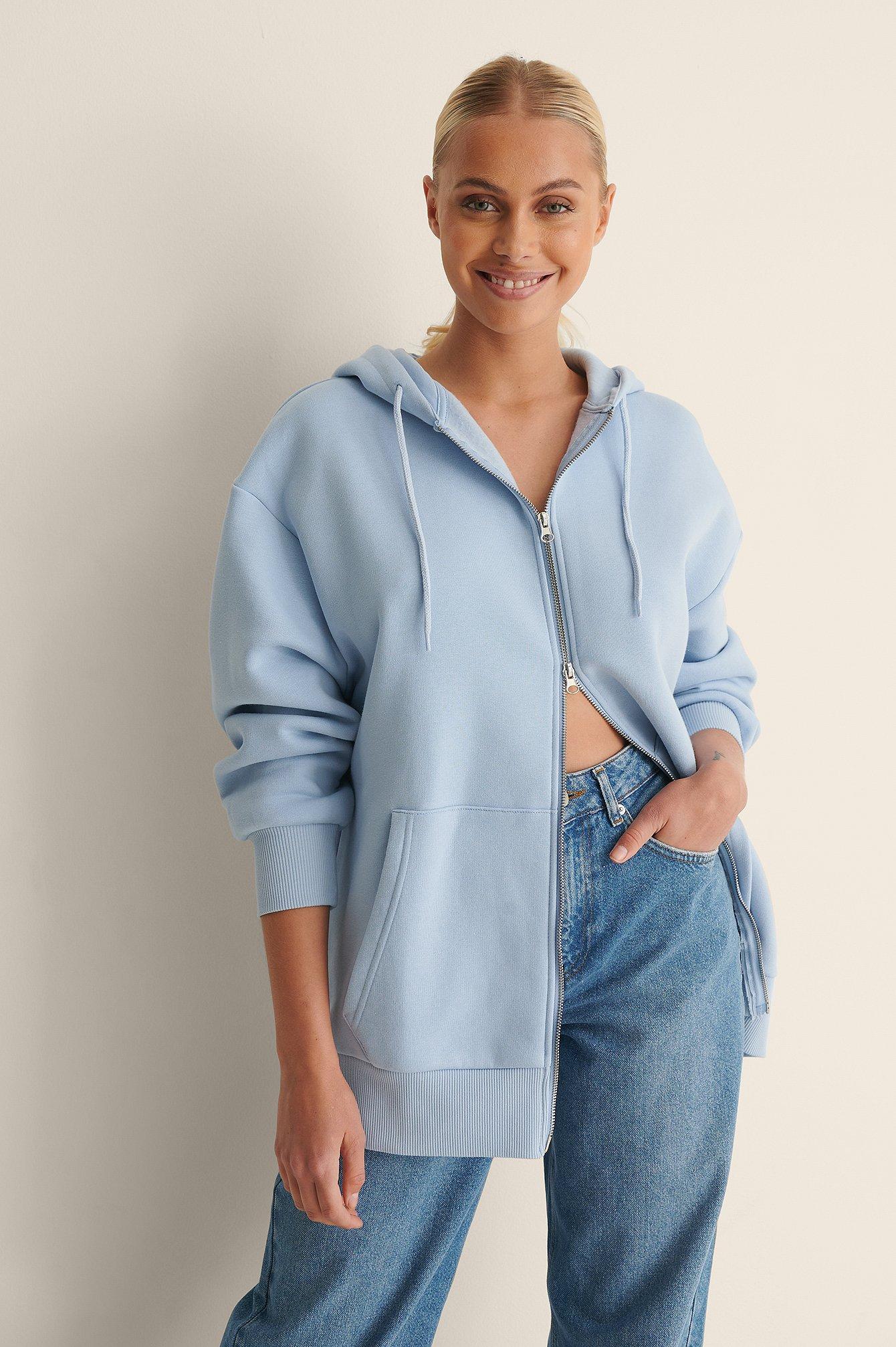 na-kd trend -  Bio-Oversize-Kapuzenpullover Mit Reißverschluss - Blue